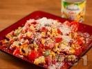 Рецепта Салата с чери домати, авокадо, царевица и сирене пармезан